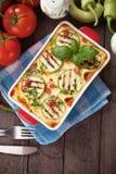 Moussaka dish with zucchini and chili pepper Stock Image