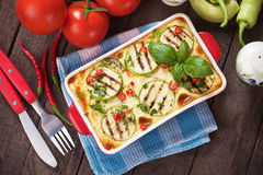 Moussaka dish with zucchini and chili pepper Royalty Free Stock Photography