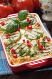 Moussaka dish with zucchini and chili pepper Royalty Free Stock Photos