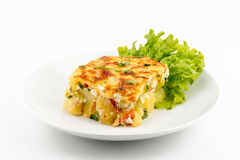 Moussaka. Front view. Selective focus White background royalty free stock photos
