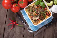 Moussaka, greek casserole with aubergine Royalty Free Stock Photo