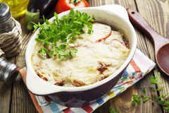 Moussaka. Greek national dish on the table stock photography