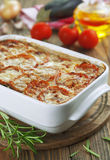 Moussaka. A Greek national food on the table royalty free stock image