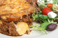 Moussaka & Greek Salad Royalty Free Stock Photo