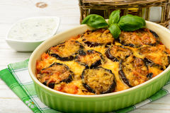 Moussaka - Griekse braadpan met aubergines Stock Afbeelding