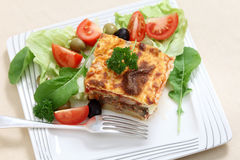 Moussaka high angle Stock Photography