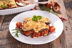 Moussaka. Plate of gourmet homemade moussaka stock photos