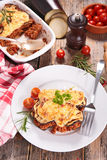 Moussaka. Plate of moussaka and ingredient stock photos