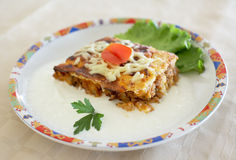 Moussaka portion in a dish Royalty Free Stock Photography