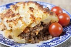 Moussaka with potatoes. Stock Photo