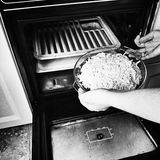 Moussaka prepare. Artistic look in black and white. Royalty Free Stock Images