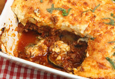 Moussaka in Serving Dish Stock Photo