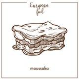 Moussaka sketch icon for European Mediterranean food cuisine menu design. Moussaka sketch icon for European food cuisine menu design. Vector retro sketch of Stock Image