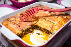 Moussaka sliced Stock Photos
