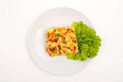 Moussaka. Top view. Selective focus White background royalty free stock photos