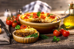 Moussaka. Traditional Balkan specialty with minced meat and potatoes stock photography