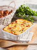 Moussaka. A traditional Greek dish prepared with eggplant stock images