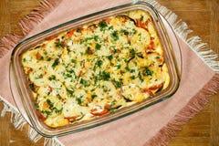 Moussaka vegetariano Piatti greci tradizionali fotografie stock