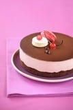 Mousse κερασιών σοκολάτας κέικ με τα macarons στοκ εικόνες