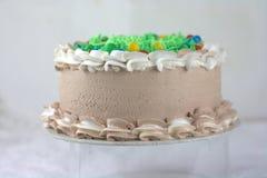 Mousse σοκολάτας κέικ με το ζωηρόχρωμο κάλυμμα Στοκ Φωτογραφία