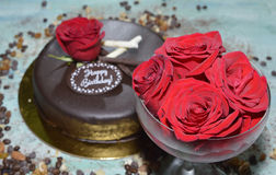 Mousse σοκολάτας κέικ με το φοντάν σοκολάτας Στοκ φωτογραφία με δικαίωμα ελεύθερης χρήσης