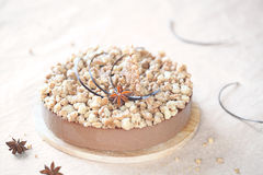 Mousse σοκολάτας καρυκευμάτων κέικ με το θίχουλο στοκ εικόνα