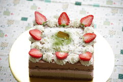 Mousse. Handmade By Viki Strawberry Banana Chocolate Mousse Birthday Cake for friends stock image