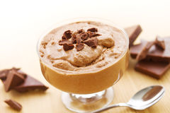Mousse au chocolat with chocolate Royalty Free Stock Photography