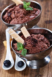 Mousse au chocolat. With chocolat and mint Royalty Free Stock Photos