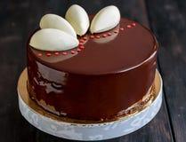 Mousse cake with chocolate glaze. Royalty Free Stock Photo