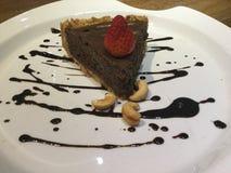 Mousse cake. Chocolate pie. Raw. stock photo