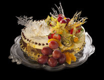 Mousse cake decorated with fruits Royalty Free Stock Photography