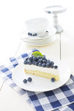 Mousse cake with fresh blueberries. Vanilla mousse cake with fresh blueberries royalty free stock images