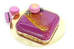 Mousse cake over white Royalty Free Stock Photography