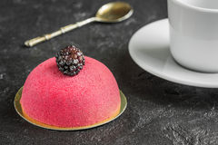 Mousse cake with marzipan and vintage spoon for breakfast. Coffee with mousse cake for dessert with blackberries Stock Photography