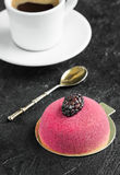 Mousse cake with marzipan and vintage spoon for breakfast. Coffee with mousse cake for dessert with blackberries Royalty Free Stock Photo