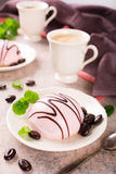 Mousse cakes covered with pink glaze Stock Photography
