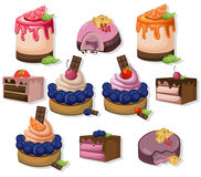 Mousse chocolate delicious cakes set collection. Sweet dessert blackberry flavors Vector illustration Stock Photo