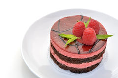 Mousse chocolate and raspberry cake Stock Image
