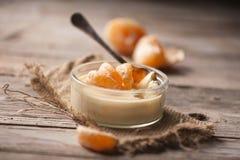 Mousse con un mandarino Fotografia Stock