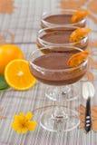 Mousse di cioccolato con l'arancio Fotografie Stock Libere da Diritti