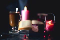 Mousse e caffè di cioccolato fotografia stock