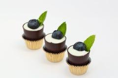 Mousse em uns copos da sobremesa do chocolate fotografia de stock royalty free