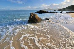 Mousse et roche d'eau de mer dans l'éclairage de coucher du soleil Image stock