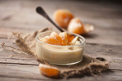 Mousse with a mandarine Stock Photography