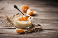 Mousse with a mandarine Royalty Free Stock Image