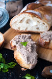 Mousse, pate in a jar with baguette and parsley Royalty Free Stock Photo