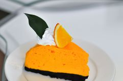 mousse tort, mousse pomarańcze lub kulebiak mousse lub obrazy royalty free