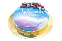 Mousse tort z lustrzanym glazerunkiem i tekstem Fotografia Stock