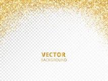 Moussera blänka gränsen, ram Fallande guld- damm som isoleras på genomskinligt Guld- blänka garnering för vektor vektor illustrationer